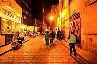 Al-Muizz li-Din Allah Street at night, city of Cairo, Egypt