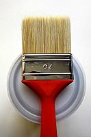 Red Paint Brush on top of Can.