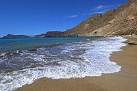 Cabo de Gata, Cala San Pedro, Beach, Biosphere Reserve, Cabo de Gata-Nijar Natural Park, Almeria, Spain, Europe.