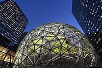 Seattle, Washington: The Amazon Spheres under construction at the Amazon Urban Campus in the Belltown neighborhood. The geodesic structures, which wil...