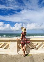 Brazilian Model on the Promenade by the Farol da Barra Beach, Salvador, State of Bahia, Brazil.