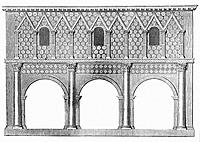 An architectural drawing of the portico of the Imperial Abbey of Lorsch (founded in 764) in the District of Bergstrasse, state of Hesse, Germany. It w...
