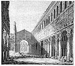 The burned out Basilica of St Pauls after a fire on 15 July 1823, when a workman repairing the lead of the roof started a fire that led to the near to...