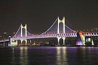 Gwangandaegyo Bridge at Night, Busan, South Korea.