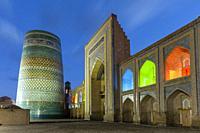 The Kalta Minar Minaret and Mohammed Amin Khan Madrassa (Orient Star Hotel), Khiva, Uzbekistan.
