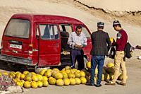 Melons For Sale At A Colourful Street Market, Khiva, Uzbekistan.