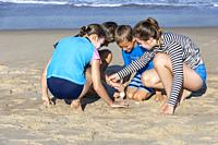 Avon, Outer Banks, North Carolina, USA. Children Searching in the Sand for Seashells.