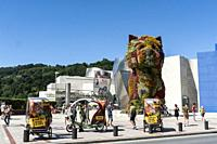 View of Puppy sculpture by Jeff Koons, Guggenheim Museum, Bilbao, Basque Country, Spain.