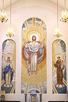 Two storey mosaic of crowned Mary, the risen Lord Jesus Christ and Saint Anthony of Padua in the Mausoleum Chapel of Queen of Heaven cemetery Vaughn O...