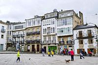 Traditional Galician architecture at Praza Maior city square at Viveiro, Lugo province, Galicia, Spain, Europe.