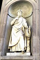 Dante Alighieri statue in the Piazzale degli Uffizi - Florence, Italy.