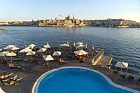 Hotel Fortina Pool and Valletta Cityscape, Malta.