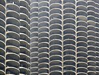 USA, IL, Chicago. Apartment building in the center of Chicago. Many curved balconies that all look the same.