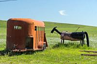 Canada, Alberta, Turner Valley. An amusing sculpture of a horse, made of recycled oil barrels and metal pipes standing in a grassy field.