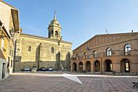 Church and Town Hall in Granion. La Rioja. Spain.