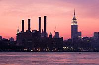 Skyline of Manhattan with Empire state building, from East River,New York City, USA.