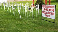 """The improvised """"""""cemetery"""""""" of the victims of abortions near St. Mart's church, Philadelphia, USA."""