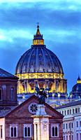 Vatican Dome Buildings Night Rome Italy.