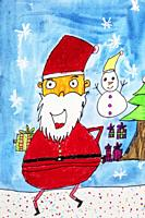Childs watercolor drawing of Santa Claus in the winter.
