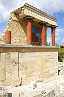 North entrance, north pillar hall, Knossos palace archaeological site, Crete island, Greece, Europe.