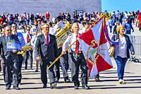 Pilgrims Believers Banner 100th Anniversary Apparations Basilica of Lady of Rosary Fatima Portugal. Church created on site where three Portuguese Shep...