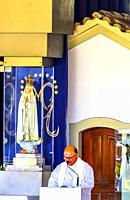 Mass Chapel of Apparations Virgin Mary 100th Cellebration Mary's Appearance Basilica of Lady of Rosary Bell Tower Fatima Portugal. Chapel on the exact...