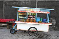 Bakso Cart, Bali, Indonesia. A mobile food cart offering Bakso Ayam, chicken meatballs with noodles.