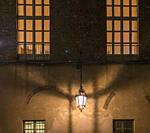 Lamp in a wall at night, Torino, Italy