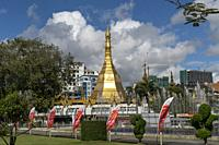 Sule Pagoda in Yangon or Rangoon, Myanmar, Asia.