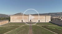 Aerial view of the facade of the royal palace of Caserta. Caserta Municipality. Campania. Italy.