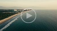 Aerial view at the Nuevo Vallarta coastline of Riviera Nayarit, Mexico . Flying North to South.
