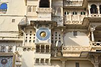 Artwork on the City Palace, Udaipur, Rajasthan, India.