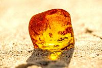 Amber on a beach of the Baltic Sea.