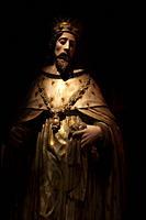 A sculpture of Saint Louis, king of France, is displayed in Tesoros de la Catedral museum in Puebla de los Angeles, Mexico.