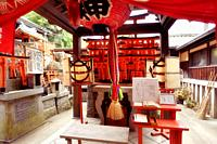 One of the side Shinto shrines at Fushimi Inari Taisha head shrine in Fushimi Ward, Kyoto, Japan.