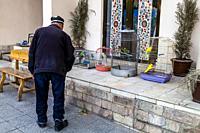 An Uzbek Man Outside His House, Samarkand, Uzbekistan.