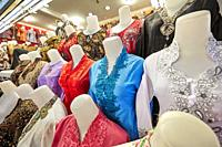 A selection of women's clothing on mannequins. Beringharjo Market, Yogyakarta, Java, Indonesia.