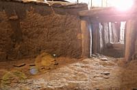 Archeological site of Huerta Montero, Calcholitic Dolmen. First winter solstice sunray taken from dolmen interior, Almendralejo, Spain.