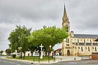 Church, Carcans. Gironde, Aquitaine, France, Europe.