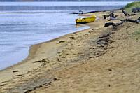 Boat in the beach, Kristiansand, Norway, Scandinavia.
