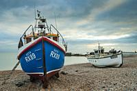 Fishing boats on Hastings beach, East Sussex, England.