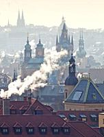 Czech Republic, Prague - Spires of the Old Town on Cold Winter Morning.