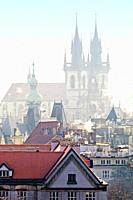 Czech Republic, Prague - The Old Town and Tyn Church on Misty Morning.