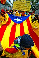 Catalan flag, Catalan independence movement, December 2017, Brussels, Belgium