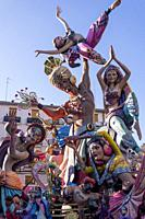 """A Falla sculpture display on a city square during the annual """"""""Las Fallas"""""""" Festival taking place in Valencia, Spain."""