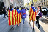 Political demonstration for the independence of Catalonia. Estelades, Catalan independent flags. October 2017. Barcelona, Catalonia, Spain