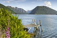fjord panorama at the ferry station of Balestrand, Norway, Sognefjorden, old wooden landing stage and view direction to Menes and Lustrafjorden.