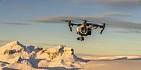 Drone flying, Hagafellsjokull Glacier, Langjokull Ice Cap, Iceland Hagafellsjokull Glacier, Langjokull Ice Cap, Iceland.