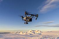 Drone flying, Hagafellsjokull Glacier, Langjokull Ice Cap, Iceland. Hagafellsjokull Glacier, Langjokull Ice Cap, Iceland.
