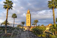 Parc Lalla Hasna fountain Koutoubia Mosque minaret, Marrakesh, Kingdom of Morocco, Africa.